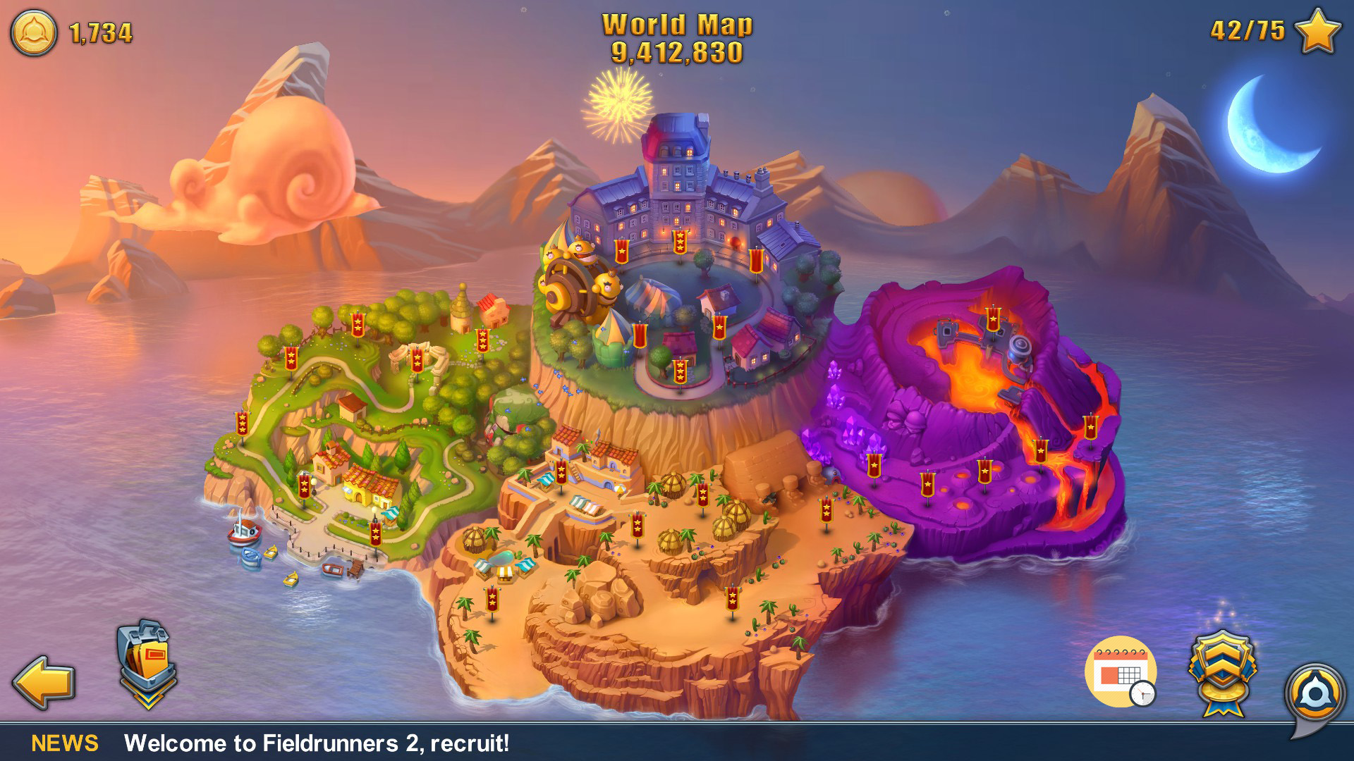 Fieldrunners 2 map modifiers proposal the nameless quality world map screen with daily challenge added gumiabroncs Images